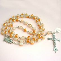 Rosary Beads in Peach with Engraving
